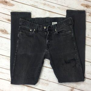 Denim - Slim Low Waist Distressed Jeans